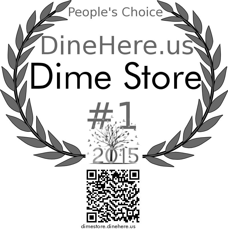 Dime Store DineHere.us 2015 Award Winner